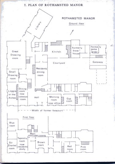 Plan of Rothamsted Manor, 1970s.   Reproduced from The Manor of Rothamsted and its Occupants, 1978, by D H Boalch
