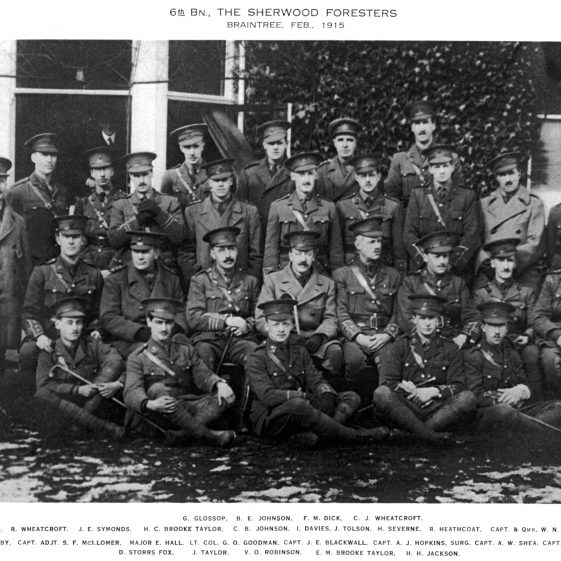 44.  6th Battalion officers, at Braintree, February 1915.  They had possibly moved from billets in Harpenden. | Michael Briggs - SF17-MB