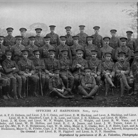 45 Officers of 1/8 in Harpenden, November 1914. | Michael Briggs - SF18-MB