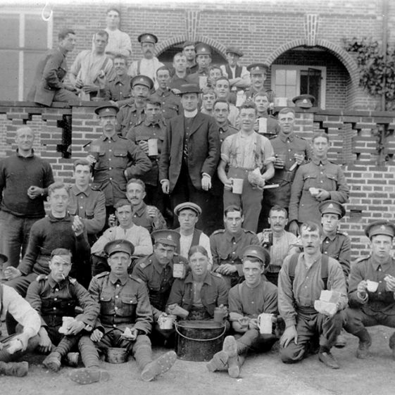 28.  Men of the 5th Battalion, on the terrace of 'Rosemary', the house Henry Tylston Hodgson had built in 1908, and made available for billeting - 1914-15. It became a hospital from October 1915 to May 1916 when the troops left Harpenden, and again from March 1917 until February 1919, it was an outpost of Napsbury Hospital. | Michael Briggs - SF4 MB