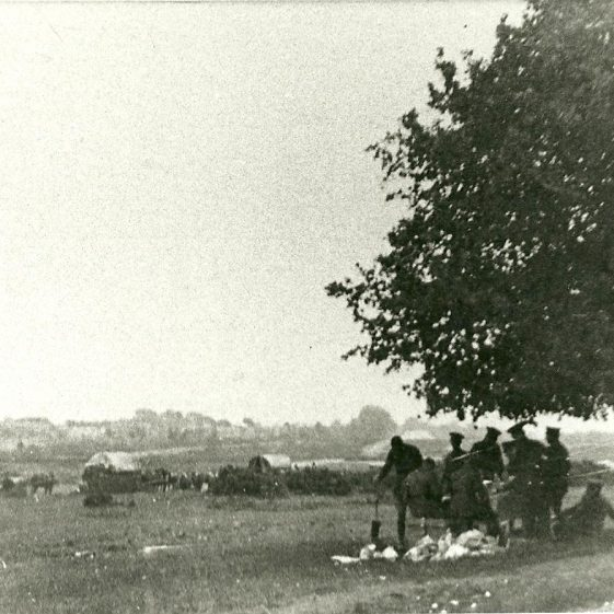 14.  Soldiers on Harpenden Common, resting? What is going on behind the bushes? | LHS archives - SF 0027