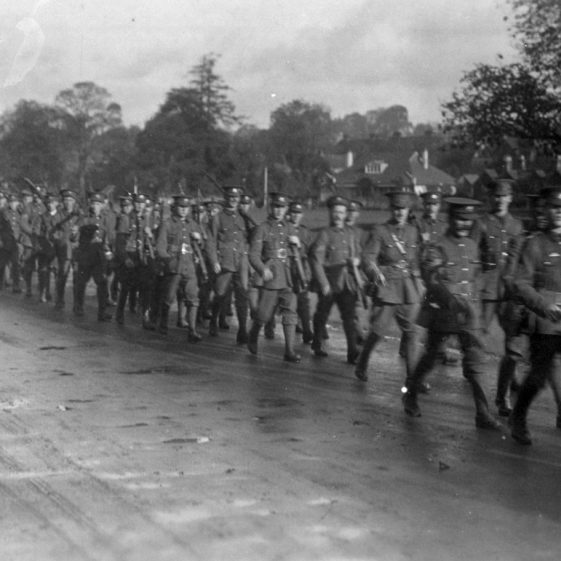 4. 6th Battalion - marching along St Albans Road, Harpenden,1914 | Michael Briggs - SF6-MB
