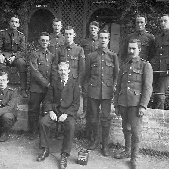 29.  6th Battalion, B company, outside Jubilee Cottage, Tennyson Road, 1914 | Michael Briggs - SF7-MB