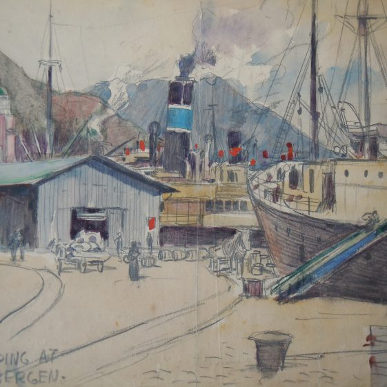 Shipping at Bergen, an unfinished water colour