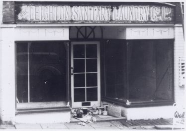 Leighton Sanitary Laundry, 19 Station Road, sign revealed  in 1990s | LHS archive, cat.no. P.004745