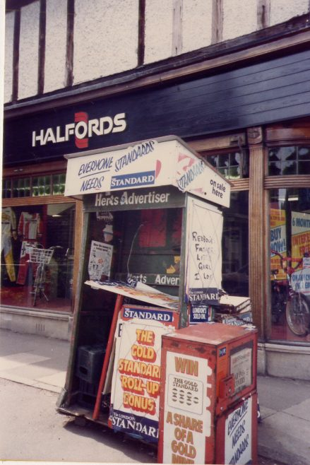 Halfords - 1980s - with news-stand, which was destroyed in the storm of 1987   LHS archives, cat.no. LHS 001274