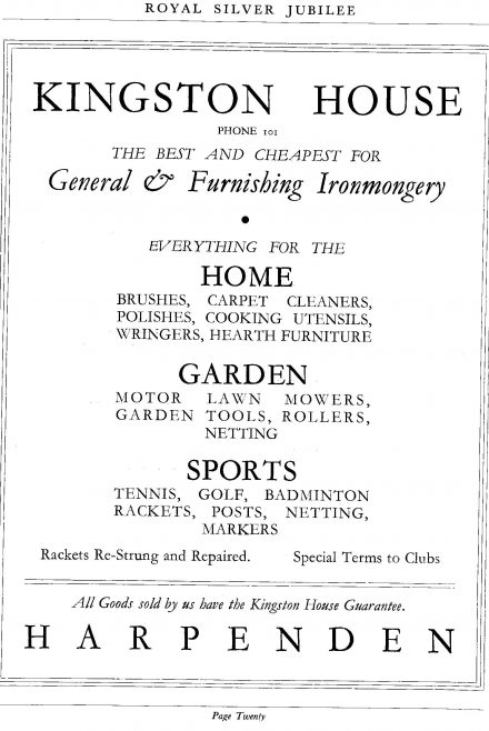 Advertisement for Kingston House, in the 1935 Jubilee programme   LHS archives, cat.no LHS 009342
