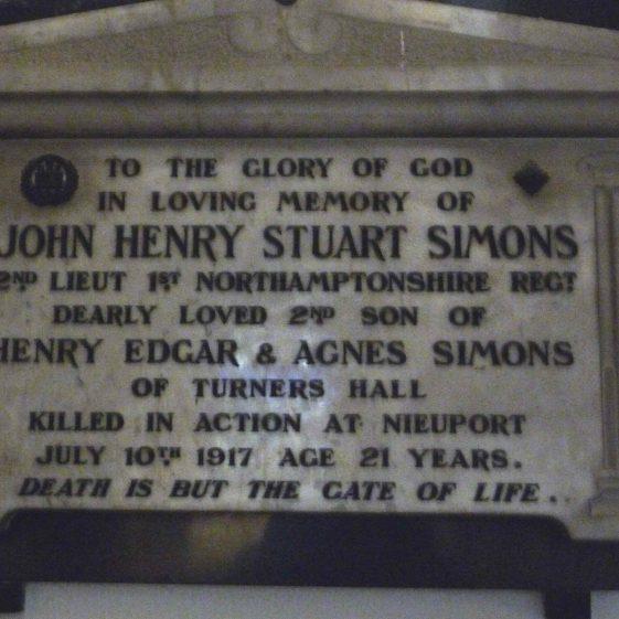 Memorial to John Henry Stuart Simons - St Nicholas church | G Ross, 2013