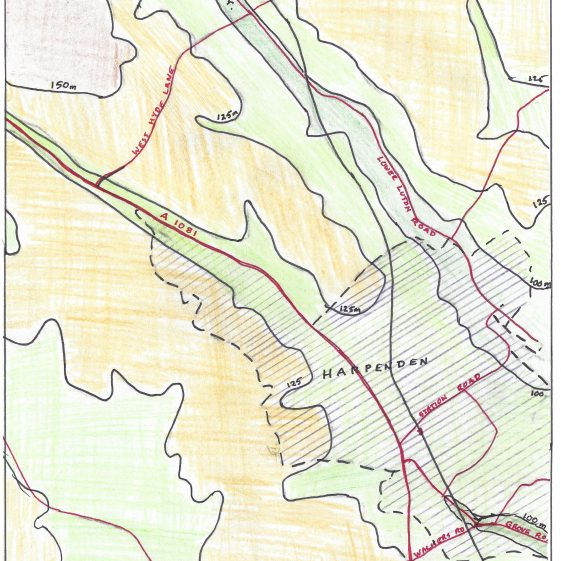 51. Sketch map of the dry valley from Kinsbourne Green to Grove Road | LHS archives - L Casey, 1980s