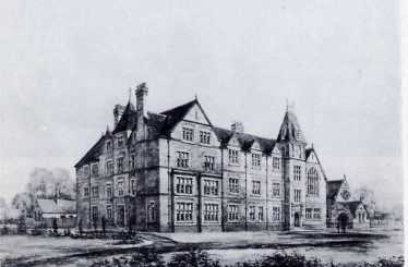 Architects drawing of the school as built (except for the Chapel) in 1885 | St George's School, reproduced from Pam Weatherley's History of St George's School, Harpenden