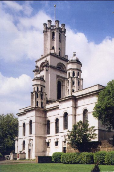 St George's in the East: bombing cleared the slums of this parish near Cable Street   Pevsner, Buildings of North London