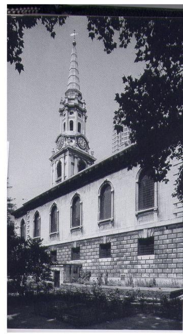 St Giles-in-the-Fields, a Hawkesmoor church in the midst of slums, later cleared to open up New Oxford Street   Pevsner, Buildings of North London