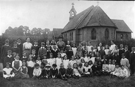 St Mary's church, with group school photo, c.1905 | LHS archives, EM 21.19