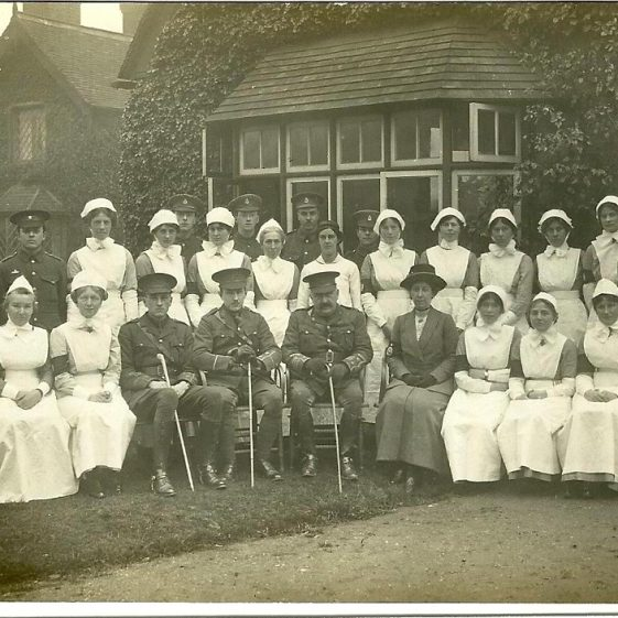 24.  Staff and medics (?) outside The Institute, Harpenden, 1914 | LHS archives