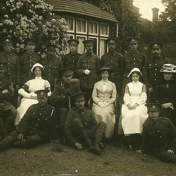 25.  Staff and patients, outside The Institute, Harpenden, 1914. | LHS archives