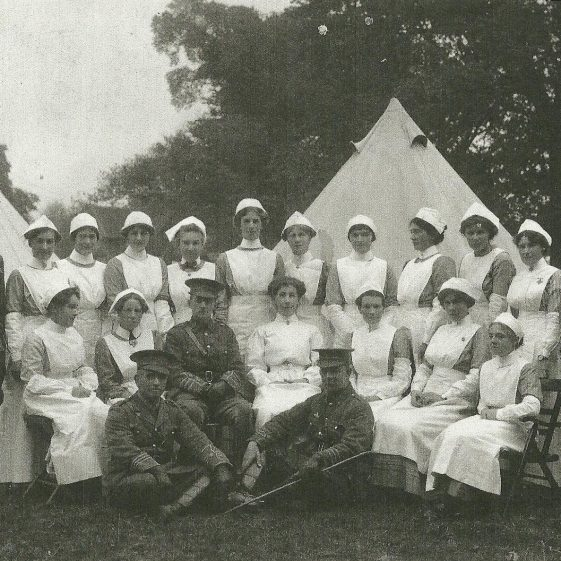 23.  Nurses and medics in Rothamsted Park, 1914. Mrs Violet Kelynack is in the centre of this and the following two pictures. | LHS archives