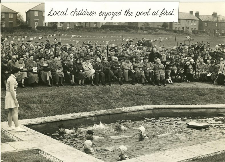 Children enjoying the pool at the opening ceremony