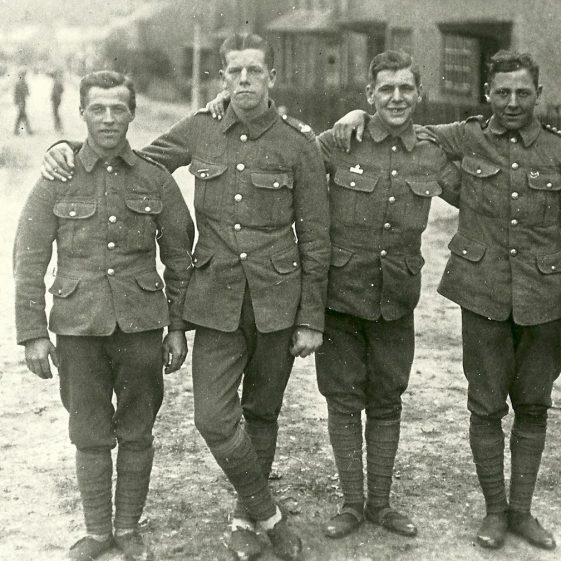 31.  Territorials with Imperial Services badges, 46th Division, in Cravells Road, (or more probably in Vaughan Road) Harpenden, c.1914. | LHS archives - SF 0004