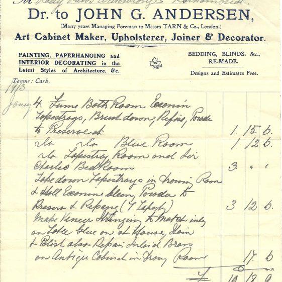 Lady Lawes-Wittewronge's bills - 1912-13