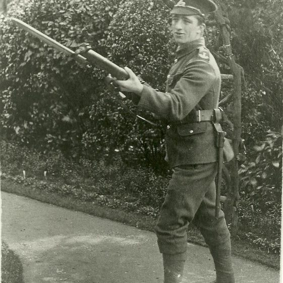 36.  Soldier from 1/4th or 1/5th Battalion, Lincolnshire Regiment - in a formal garden? | LHS archives - SF 0006