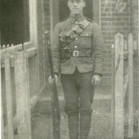 32.  Soldier from Notts & Derby Regiment, possibly in Cravells Road, Harpenden, 1914 | LHS archives - SF 0007