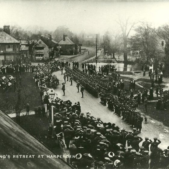 7.  Kings Retreat, Harpenden High St, winter 1914, possibly Territorials of 46th Division. | LHS archives - SF scan 0009