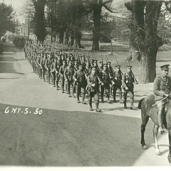 3. 1st of the 6th Battalion, N Staffordshire Regiment, marching along Leyton Road, Harpenden, probably autumn 1914 | LHS archives - SF scan0013