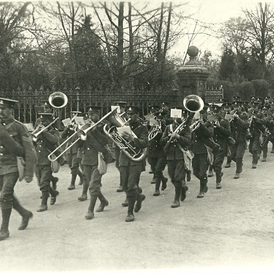 5.  1/6 battalion, N Staffordshire Regiment, marching out of Rothamsted Park, Harpenden, probably autumn 1914 | LHS archives - SF scan 0014