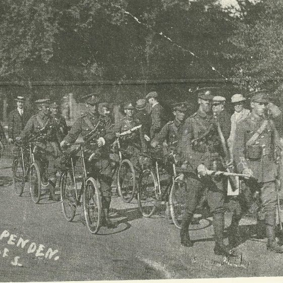 12.  Soldiers with bicycles, at the corner of Sun Lane and High Street, Harpenden - unidentified regiment. | LHS archives, SF scan 0015
