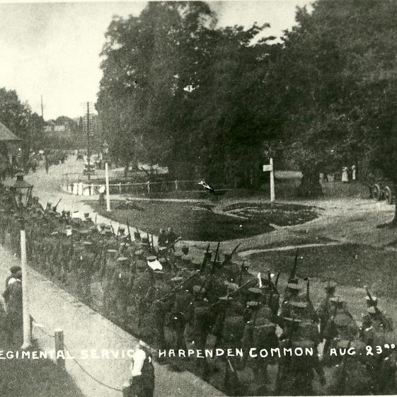 8.  Probably Territorials of 46th Division, marching along High Street, near the Cock Pond, Harpenden, August 1914 - NOT on Harpenden Common as the postcard indicates. | LHS archives - SF scan 0016