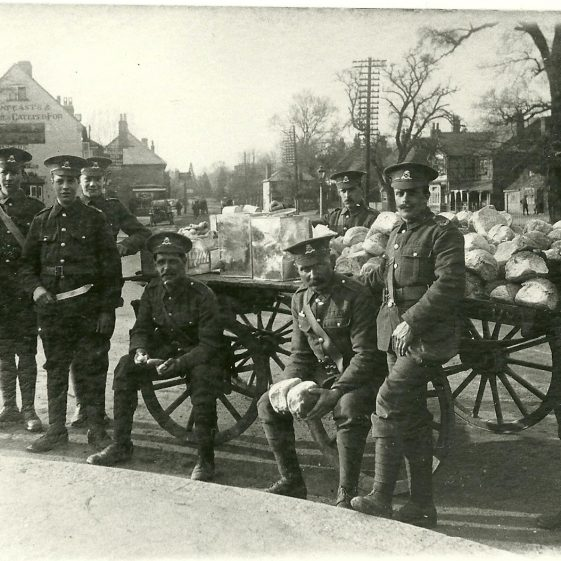 22.  North Staffordshire men distributing bread, Church Green, Harpenden, 1914. | LHS archives, SF scan 0018