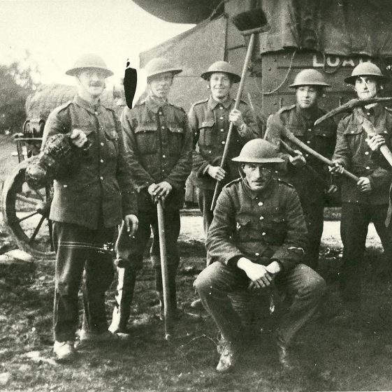 39.  North Staffordshire men, manning the Searchlight battery on Harpenden Common, 1917-18. | LHS archives - SF 0021