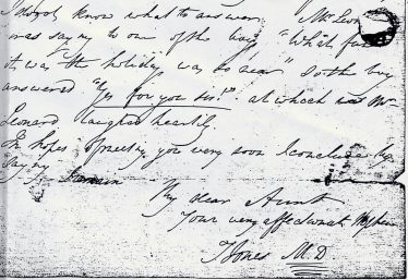 Extract from Thomas Jones' letter to his aunt, 15 May 1826 | LHS collection, courtesy of Susan Pomeroy, great-great-grand-niece