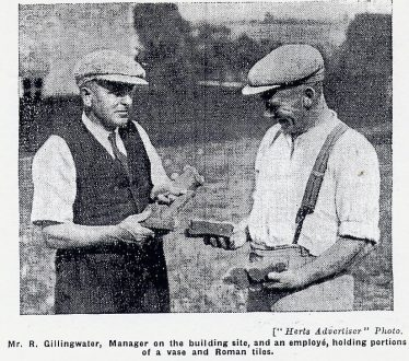 Workmen holding fragments of pottery & tiles found on a building site in Crabtree Lane   Herts Advertiser, 26 Aug 1938, in LHS archives