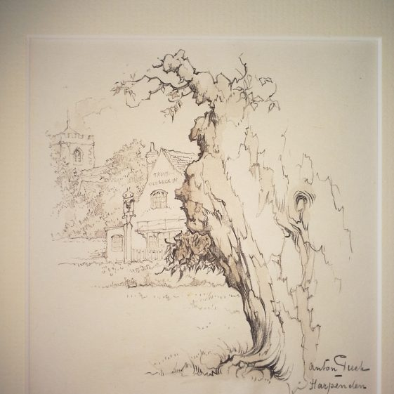 The Old Cock and St Nicholas Church tower, Harpenden | Anton Pieck - Copyright of the Pieck family