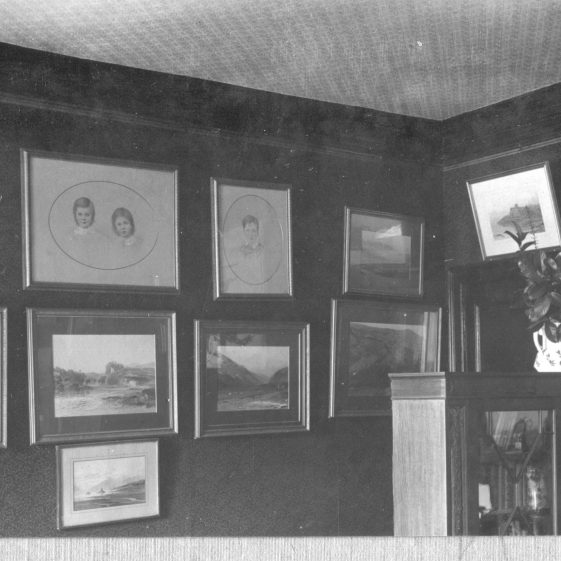 9 Welcombe - drawing of Hodgson children and Scottish landscapes in study/morning room   LSH archives - Thurston Album 8B