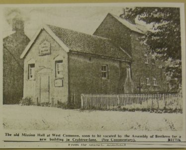 The United Mission, West Common, just before the move to Crabtree Lane   LHS archives BF 26
