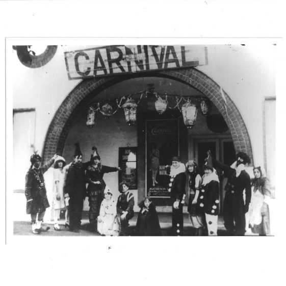 Winnie Read, fifth from the left in this 'stunt' to advertise the film Carnival at the Victoria (White Palace) cinema, Leyton Road, c.1908 | LHS archives - photos donated by Win Read