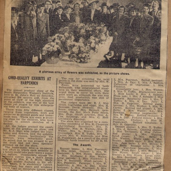 13.  Mrs B Weston was one of the organisers of this WI Flower show in the late 1940s | Di Castle's family albums