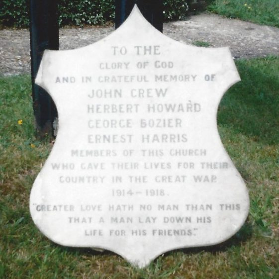 Memorial to the men of Kinsbourne Green, formerly in Kinsbourne Green Methodist Church | Scan from photo in LHS Archives
