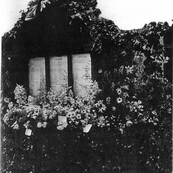 A shrine erected in the garden in Cravells Road, behind Mr Timson's shop in Wheathampstead (now Southdown) Road.  There was also a shrine in Heath Road. Both shrines have disappeared. | From postcard in LHS archives