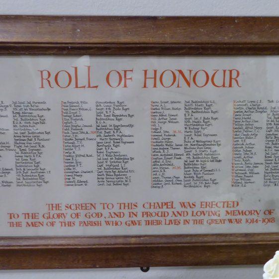 The Roll of Honour in St Nicholas church | G Ross, Nov 2018