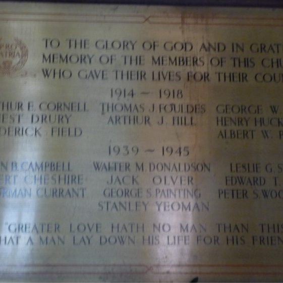 Memorial plaque in High Street Methodist church - 1914-18 and 1939-1945 | G Ross, 2013