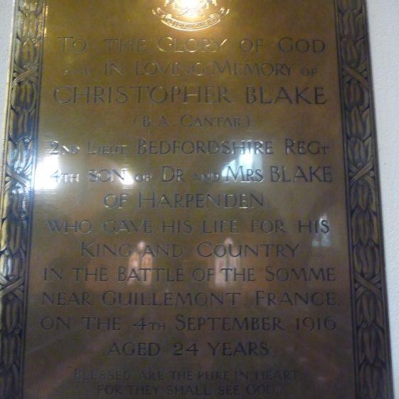 Plaque to Christopher Blake - St Nicholas church | G Ross, 2013