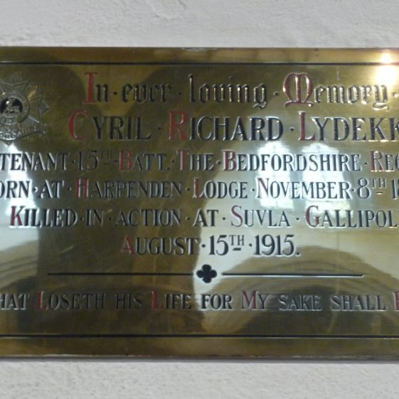 Cyril Richard Lydekker memorial - St Nicholas church | G Ross, 2013