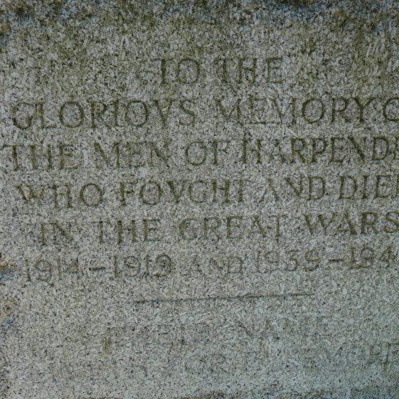 Dedication on the War Memorial on Church Green | G Ross, 2013