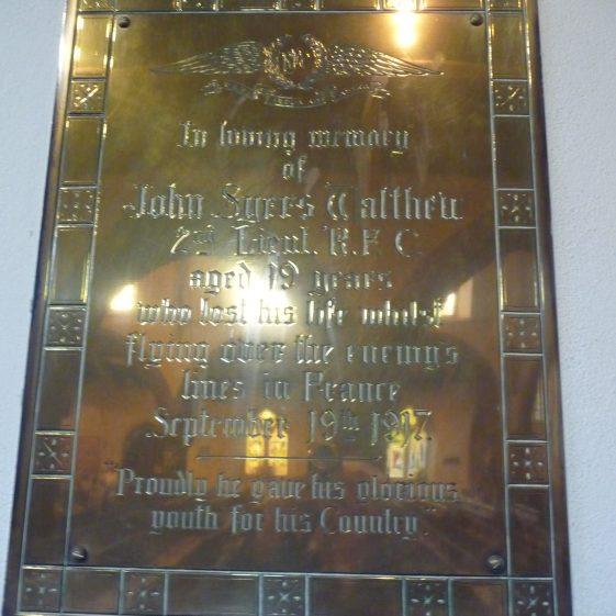 Memorial to John Syers Walthew - St Nicholas church | G Ross, 2013