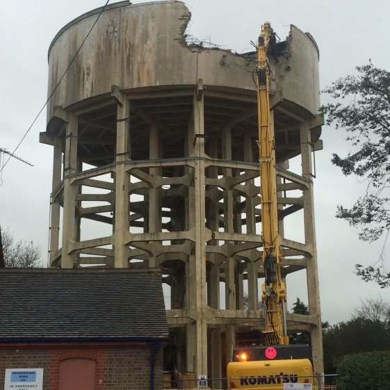 The start of the demolition on 27 January on behalf of Affinity Water, who had requested copies of old photos of the three towers | Aerial, Affinity Water
