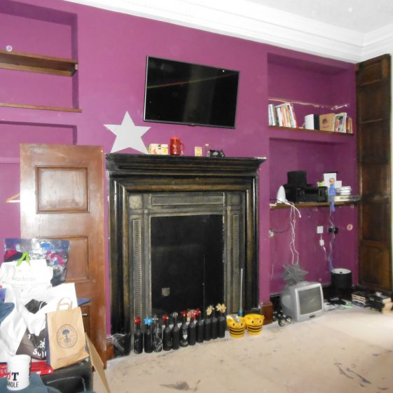 34. Harpenden House Hotel - SE bedroom being dismantled. Note the resin inner frame of the fireplace   G Ross, Sept. 2014